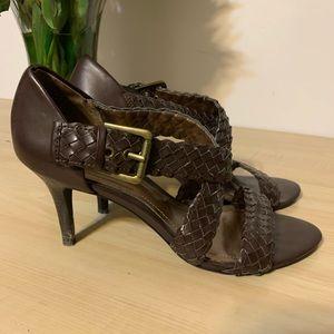 Brown braided heels